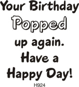 Popped Up Birthday Greeting Rubber Stamp