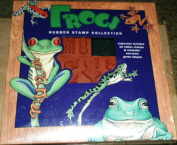 Frogs -Rubber Stamp Collection-10 rubber stamps with green ink pad
