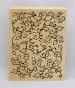 Inkadinkado Mounted Rubber Stamp, Open Holly Swirl