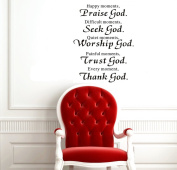 60cm X 70cm Happy Moments ,Praise God. Difficult Moments, Seek God. Quiet Moments, Worship God. Painful Moments, Trust God. Every Moment, Thank God Sign Wall Art Decal Sticker Home Room Decor Religious Wall Quotes Saying