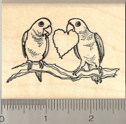 Love Birds with Paper Heart Rubber Stamp - Wood Mounted