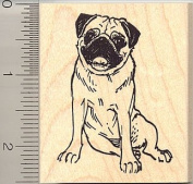 Sitting Pug Rubber Stamp - Wood Mounted