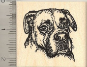 Detailed Boxer Dog Portrait Rubber Stamp (Riggley) - Wood Mounted