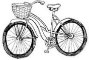 Bike With Basket Wood Mounted Rubber Stamp