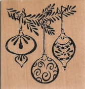 Hanging Christmas Ornaments Wood Mounted Rubber Stamp