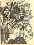 Sunflower with Butterflies Wood Mounted Rubber Stamp