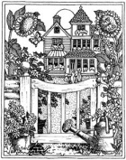 House with Gate Wood Mounted Rubber Stamp