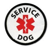 SERVICE DOG ADA Assistance Animal Medical Alert 6.4cm Black Rim Sew-on Patch