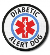 DIABETIC ALERT DOG Black Rim Medical Alert 6.4cm Sew-on Patch
