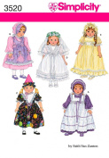 Simplicity Sewing Pattern 3520 Doll Clothes, One Size