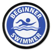 Blue BEGINNER SWIMMER Pool Safety Alert 6.4cm Sew-on Black Rim Patch