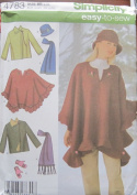 SIMPLICITY PATTERN 4783 MISSES' JACKET, PONCHO, SCARF HAT, AND MITTENS SIZE BB L-XL