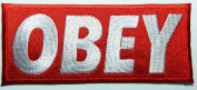 Obey Red Patches 11x5 Cm Sew/iron on Patch to Cloth, Jacket, Jean, Cap, T-shirt and Etc.