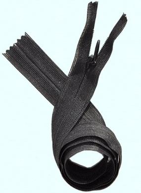 Unique Invisible Beulon Zipper 60cm ~ YKK ~ 580 Black (3 Zippers / Pack)