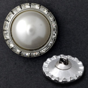 25mm Round Rhinestone Pearl Button with Shank, Crystal/Pearl/Silver by each T1336A
