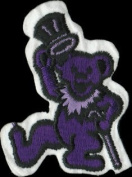 Dacing Bear With Cane And Top Hat - Dark Purple With Light Purple - Embroidered Iron On Or Sew On Patch