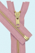 90cm Medium Weight Jacket Zipper YKK #5 Brass ~ Separating ~ S077 Dusty Pink
