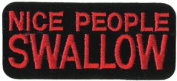 Nice People Swallow - Red On Black - Embroidered Iron On Or Sew On Patch