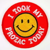 Smiley Happy Smile Face I Took My Prozac Today JACKET EMBROIDERED IRON ON PATCHES WITH FREE GIFT