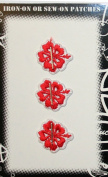 Hibiscus Trio Set Flower Embroidered Iron On Patch Red