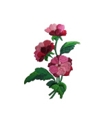 ID #6234 Pink Red Rose Flower Plant Garden Iron On Embroidered Patch Applique