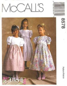 McCall's Sewing Pattern 8578 Girls' Dress with Empire Waist and Puff Sleeves, Size CF