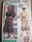 MISSES SKIRT & SCARF SIZE 8-10-12 BUTTERICK FAST & EASY SEWING PATTERN #4231