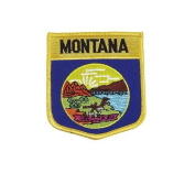 Montana USA State Shield Flag Iron on Patch Crest Badge .. 7.6cm X 8.9cm ... New