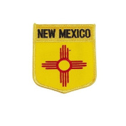 New Mexico USA State Shield Flag Iron on Patch Crest Badge .. 7.6cm X 8.9cm ... New