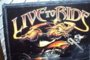 "Sturgis Bike Week ""Live to Ride"" iron-on Patch Wild Boar Hog w/ Motorcycle"