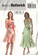 UNCUT/OOP BUTTERICK B4514 MISSES' PLEATED BODICE HALTER DRESS W/SHEER OVERLAY, LINED SIZES