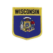Wisconsin USA State Shield Flag Iron on Patch Crest Badge .. 7.6cm X 8.9cm ... New