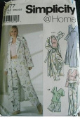 MISSES PANTS OR SHORTS, ROBE AND KNIT NIGHTGOWN OR TOP IN TWO LENGTHS SIZE XXS-XS-S SIMPLICITY @HOME PATTERN 5877