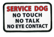 SERVICE DOG NO Touch Talk or Eye Contact 7.6cm x 13cm Sew-on Black Rim Patch