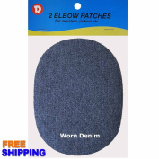 No-Sew Iron-on Worn Denim Oval Elbow Knee Repair Decorative Patches 2 per pack