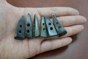 6 Pieces Brown Horn Toggle Sewing 2 Hole Buttons 3.8cm