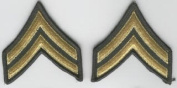Corporal E-4 Army Chevrons - Gold on Green
