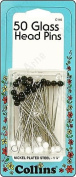 Collins Glass Head Pins 4.8cm Blk & Wht 50pc