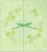 Green colour coloured paper ribbon double doors clover pattern