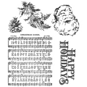 Stampers Anonymous Tim Holtz Cling Rubber Stamp Set-Holiday Wishes