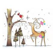 Stamping Bella Unmounted Rubber Stamp-Reindeer With Birdie
