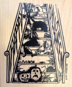 Happy Halloween Stairs Stamp Wood Mounted by Northwoods Rubber Stamps, Inc. P9145