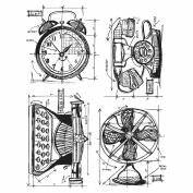 Tim Holtz Cling Rubber Stamp Set 18cm x 22cm -Vintage Things Blueprint