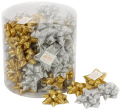 Ampelco Ribbon Company 64-Self Stick Bow for Scrapbooking, Gold and Silver