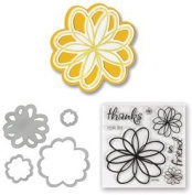 Sizzix Framelits Dies 4/Pkg With Clear Stamps Doodle Flowers