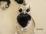 Silver Owl Pendant Necklace, Owl Jewellery, Owl Pendant with Black Body and Chain