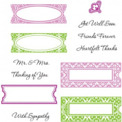 JustRite Stampers Cling Stamp Set Fancy Tags 12pc