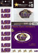Sports Solution LSU Louisiana State University Tigers 19 Piece Custom Package of Officially Licenced Collegiate Stickers, Cardstock Frames, Die Cuts & Embroidered Adhesive Patch