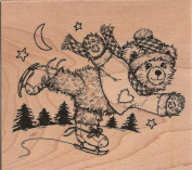 Fuzzy Bear Skating Wood Mounted Rubber Stamp