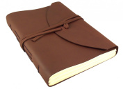 Large Genuine Leather Legacy Journal / Sketchbook with Gift Box - 400 Pages - 23cm x 30cm - Rich Dark Brown